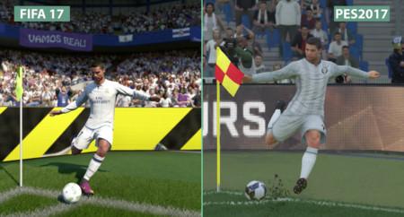 Compara tú mismo las diferencias visuales  entre FIFA 17 y PES 2017