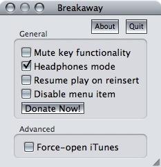 Breakaway 1.0, pausa iTunes de forma sencilla
