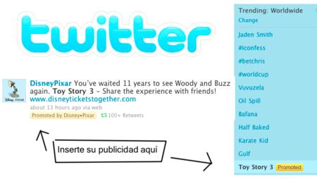 Twitter muestra los primeros Promoted Tweets y publicidad en los trending topics