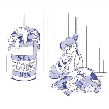 """""""Sigues siendo una buena mamá"""", las sinceras ilustraciones sobre la maternidad que nos invitan a liberarnos de la culpa"""