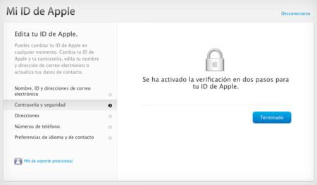 iCloud verificación en dos pasos