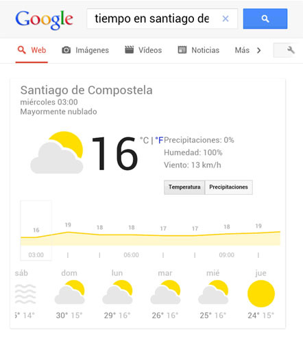 El tiempo interactivo de Google Search ya disponible para tablets