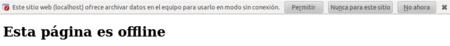 Aviso página con contenido marcado como offline Firefox