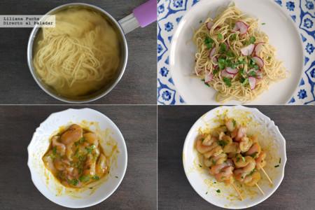 satay de pollo al albaricoque con ensalada de noodles