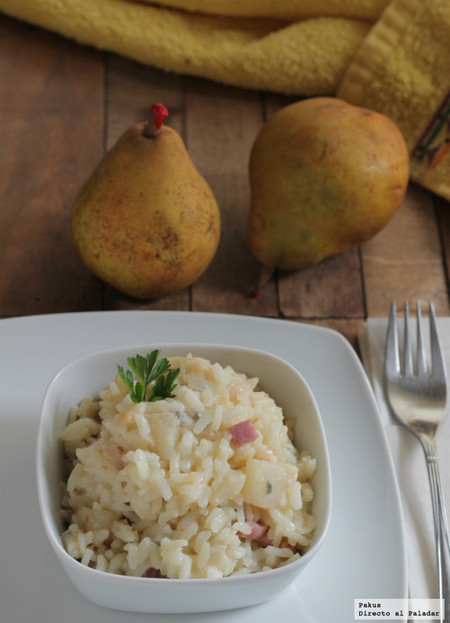 Risotto de pera y jamón al gorgonzola. Receta