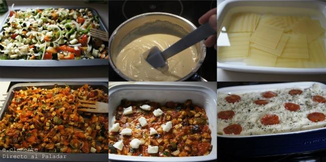 Paso a paso lasaña de verduras asadas con queso de cabra