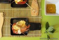 Receta de raclette de langostinos y piña