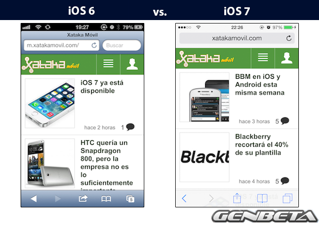 iOs 6 vs iOs 7 - safari