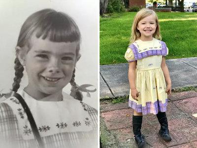 19 niñas de la familia llevaron el mismo vestido el primer día de clases en los últimos 67 años