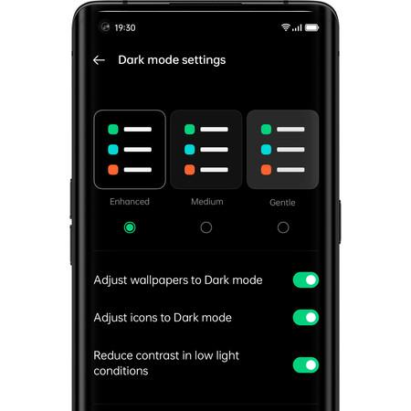 El modo oscuro de ColorOS 11 es mucho más personalizable