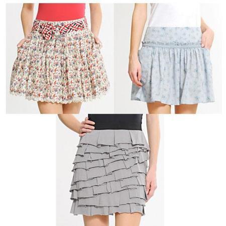 Faldas con volantes y plisados