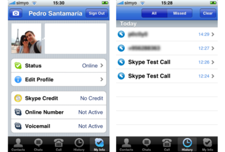 skype iphone info usuario