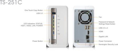 Detalle de las conexiones, botones e indicadores del NAS
