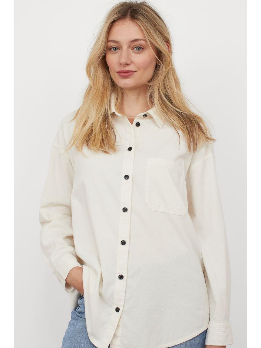Camisa de pana blanca