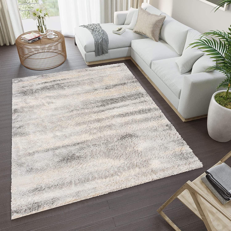 Tapiso Versay Alfombra de Salon Comedor Sala Dormitorio Diseño Moderno Gris Claro Beige Claro Rayas Shaggy 80 x 150 cm