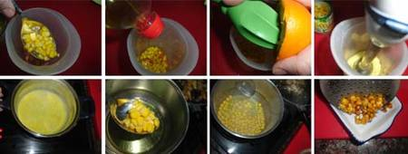 Preparación de los Calabacines rellenos de carne y setas con salsa de maíz