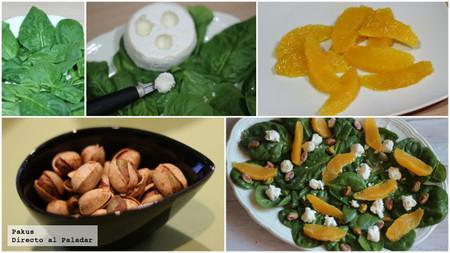 ensalada de espinacas y queso de cabra pistachos