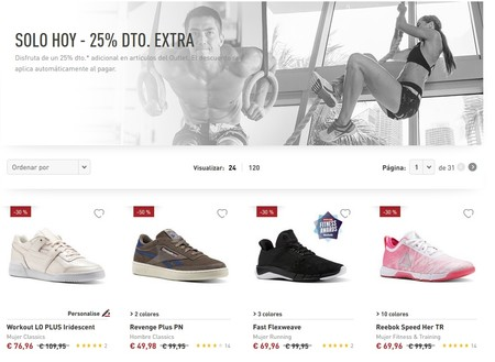 25% de descuento extra en la web oficial de Reebok sólo durante el día de hoy