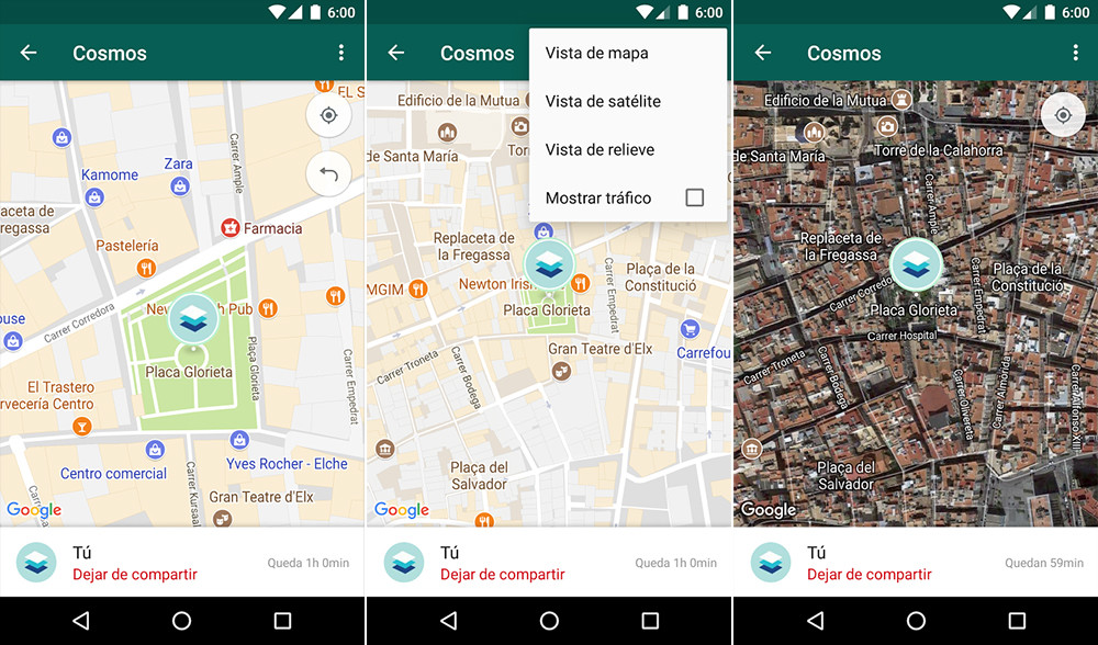 Location in real time WhatsApp