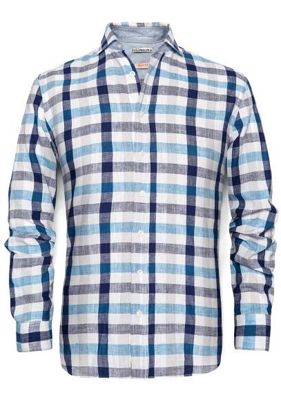 Camisa cuadros lino Mango