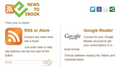 Convierte tus suscripciones de Google Reader a EPUB o MOBI con Newstoebook