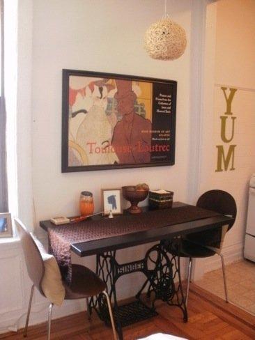 Recicladecoración: una máquina de coser convertida en mesa de comedor