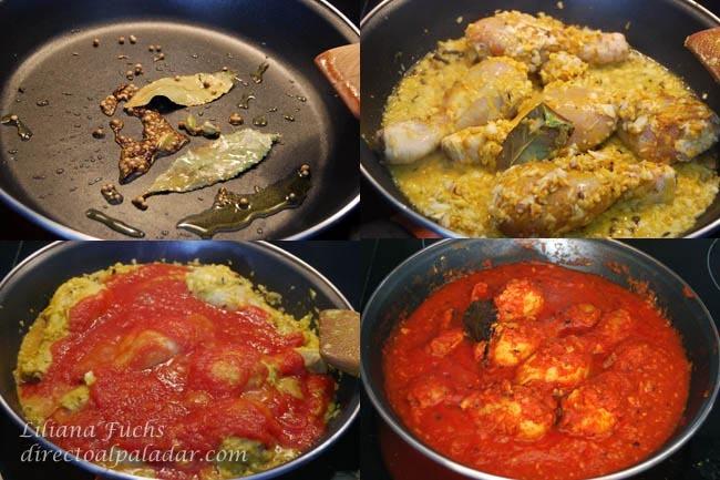 Pollo en salsa de tomate con especias. Pasos