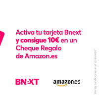 Cheque regalo de 10 euros gratis en Amazon al activar tu tarjeta sin comisiones Bnext