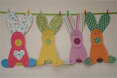 Guirnalda de Pascua para decorar tu casa con simpáticos conejitos