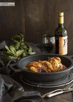 Picantones asados con mostaza, miel y pasas. Receta