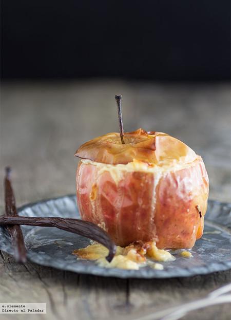 Manzanas rellenas de arroz con leche
