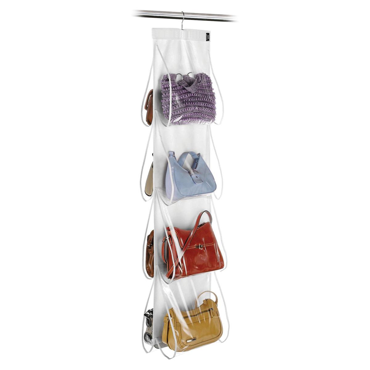 Organizador de bolsos con 8 compartimentos. Realizado en plástico, dispone de una percha superior para poder colgarlo dentro del armario