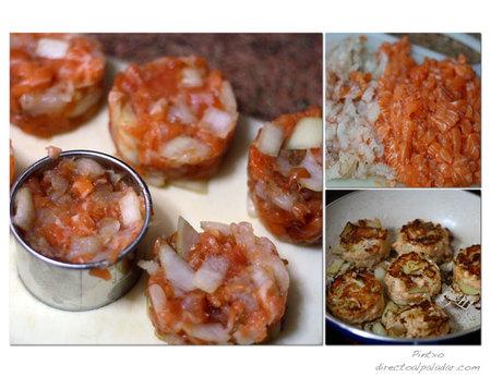 Hamburguesas de salmón y gambas. Pasos
