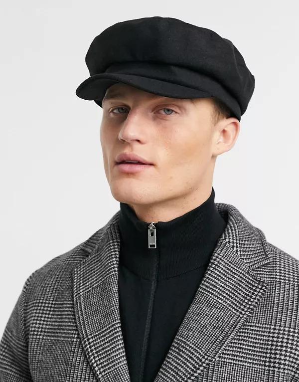 Gorra negra de estilo baker boy de melton mariner de ASOS DESIGN