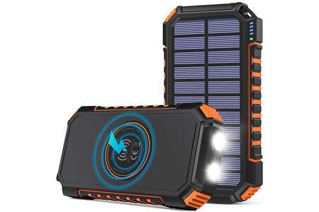 Power Bank con placa solar y base Qi