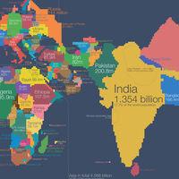 El mapa del mundo, redibujado en función de la población de cada país