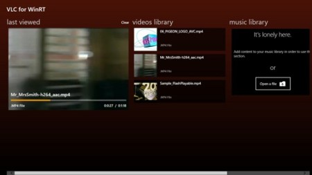 VLC para Windows 8: pantalla de inicio