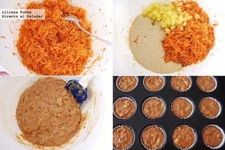 Muffins de zanahoria y piña. Receta