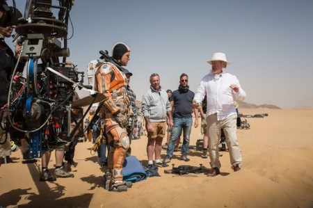 Ridley Scott en el rodaje de The Martian