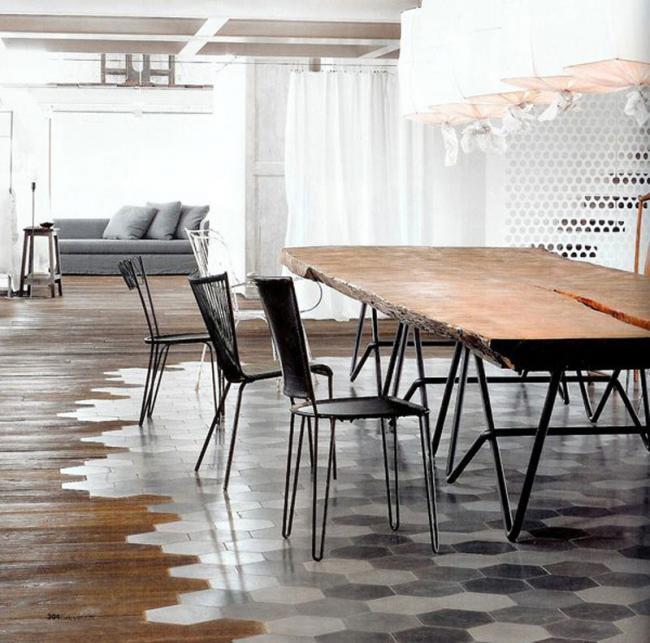 Creativos suelos que combinan la madera con la baldosa, formando ...