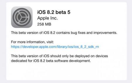 Los desarrolladores empiezan a recibir la quinta beta de iOS 8.2