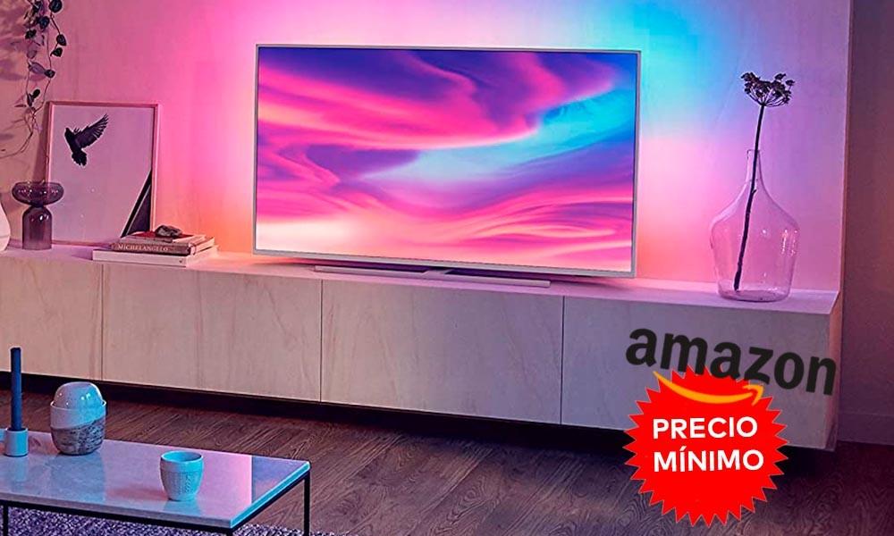 También a precio mínimo, las 50 pulgadas con Ambilight de la Philips Ambilight 55PUS7354, ahora te salen en Amazon por sólo 469,99 euros