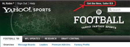 Enlace a IE8 en Yahoo Sports