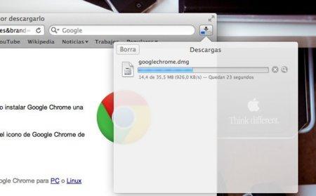 apple mac os x lion safari panel descargas interfaz diseño