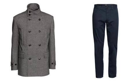 abrigo gris doble botonadura H&M