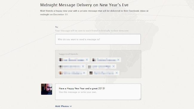 Envía por Facebook una felicitación privada automatica cuando sea fin de año en la zona horaria de a quien se la mandas