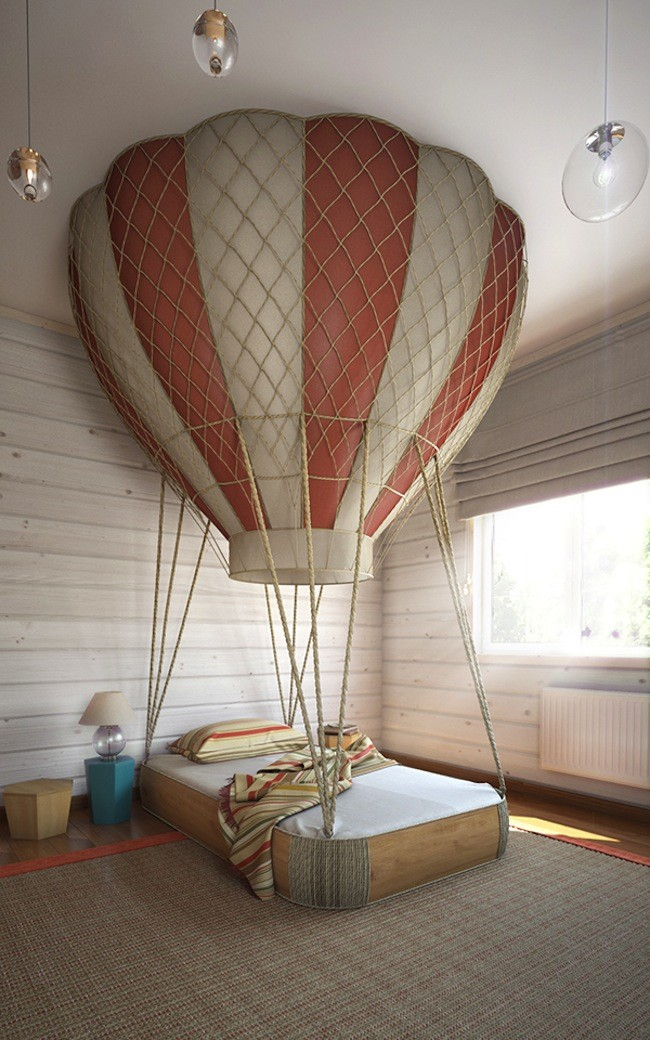 02 The Centerpiece Is The Sleeping Area With A Gorgeous Hot Air Balloon Bed
