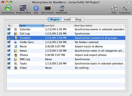 Missing Sync for BlackBerry 2.0, sincronización inalámbrica