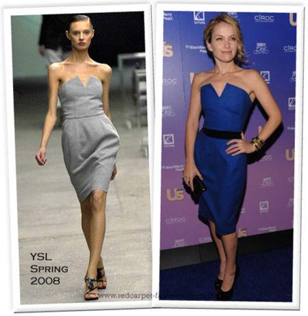 Vuelve el vestido de YSL, ahora en azul