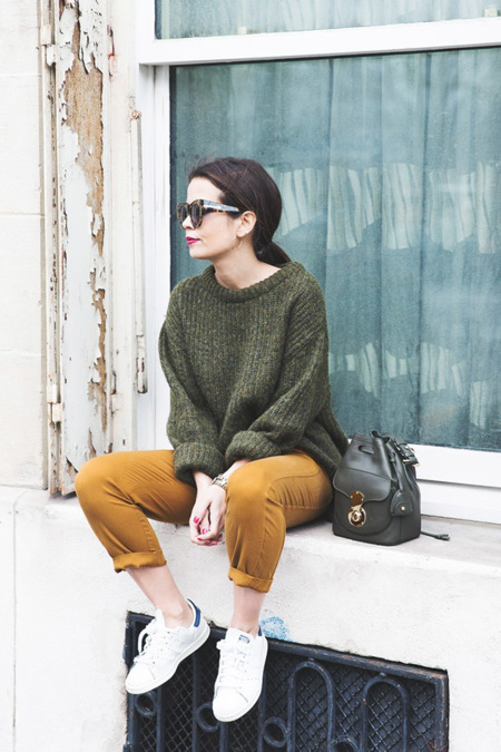 Paris Green Sweater Orange Trousers Adidas Stan Smith Ralph Lauren Bag Ricky Drawsting Bag Outfit Street Style Pfw Maxi Coat 84 790x1185